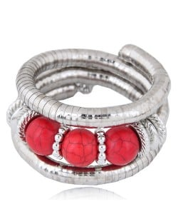 Triple Artificial Turquoise Beads Embellished Multi-layer High Fashion Alloy Bracelet - Red