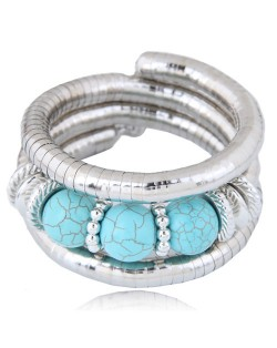 Triple Artificial Turquoise Beads Embellished Multi-layer High Fashion Alloy Bracelet - Blue