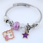 Star and Rabbit Pendants Beads High Fashion Alloy Bracelet - Purple