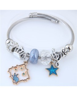Star and Rabbit Pendants Beads High Fashion Alloy Bracelet - Blue