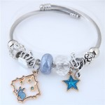 Star and Rabbit Pendants Beads High Fashion Alloy Bracelet - Blue