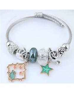 Star and Rabbit Pendants Beads High Fashion Alloy Bracelet - Green