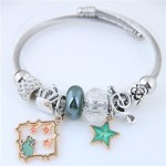 Star and Rabbit Pendants Beads High Fashion Alloy Bracelet - Green
