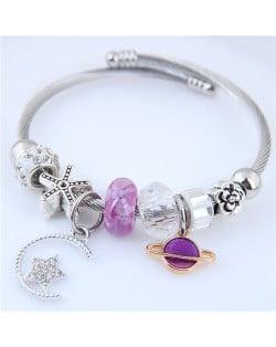Planet and Star Pendants Beads High Fashion Alloy Bracelet - Violet