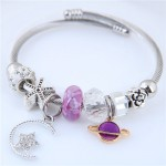Planet and Star Pendants Beads High Fashion Alloy Bracelet - Violet