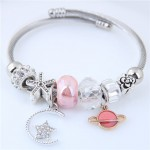 Planet and Star Pendants Beads High Fashion Alloy Bracelet - Pink