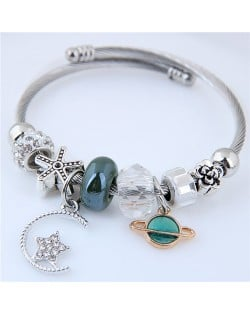 Planet and Star Pendants Beads High Fashion Alloy Bracelet - Green