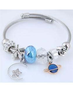 Planet and Star Pendants Beads High Fashion Alloy Bracelet - Blue