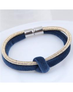 Contrast Color Rope Fashion Magnet Buckle Bracelet - Blue