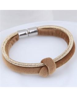 Contrast Color Rope Fashion Magnet Buckle Bracelet - Brown