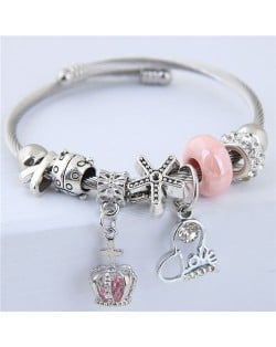Love Heart and Crown Pendants Beads Fashion Alloy Bracelet - Pink