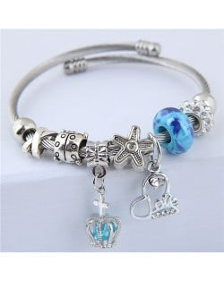 Love Heart and Crown Pendants Beads Fashion Alloy Bracelet - Blue