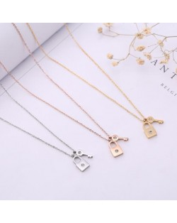 3 Colors Available Rhinstone Embellished Lock and Key Pendants Stainless Steel Necklace