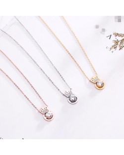 3 Colors Available Rhinstone Inlaid Crown Round Pendant Stainless Steel Necklace