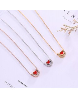 3 Colors Available Heart Inlaid Rhinestone U Shape Pendant Stainless Steel Necklace