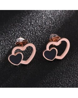 Dual Hearts High Fashion Stainless Steel Stud Earrings