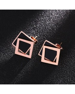 Dual Squares Design High Fashion Stainless Steel Stud Earrings