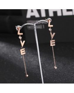 Rhinestone Embellished Dangling Vertical Alphabets Design Stainless Steel Stud Earrings