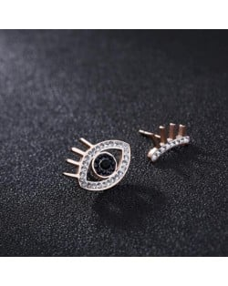 Rhinestone Embellished Asymmetric Eyes Design High Fashion Stainless Steel Stud Earrings