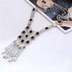 Gems Embellished Chunky Vintage Style Tassel Chains Design Long Fashion Costume Necklace - Silver and Black