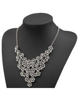 Rhinestone Inlaid Vintage Flowers Cluster High Fashion Women Statement Necklace - Silver