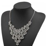 Rhinestone Inlaid Vintage Flowers Cluster High Fashion Women Statement Necklace - Silver