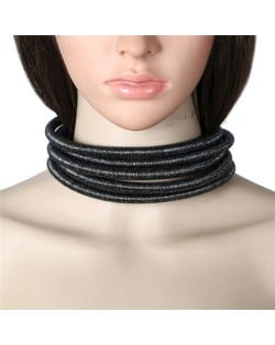 Magnet Buckle Multi-layer Rope High Fashion Choker Statement Necklace - Black
