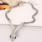 Vintage Snake Design Bold Style Thick Chain Alloy Fashion Statement Necklace - Silver