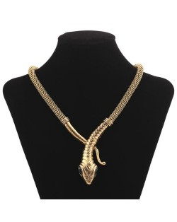Vintage Snake Design Bold Style Thick Chain Alloy Fashion Statement Necklace - Golden