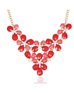Rhinestone Embellished Gem Flowers Cluster Chunky Fashion Women Costume Necklace - Red