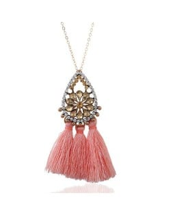 Rhinestone Floral Waterdrop with Cotton Threads Tassel Pendant Design Long Style Fashion Necklace - Pink