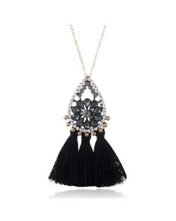 Rhinestone Floral Waterdrop with Cotton Threads Tassel Pendant Design Long Style Fashion Necklace - Black