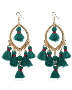 Bead and Cotton Threads Tassle Style Royal Fashion Hoop Earrings - Green
