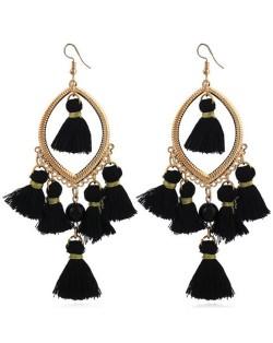 Bead and Cotton Threads Tassle Style Royal Fashion Hoop Earrings - Black