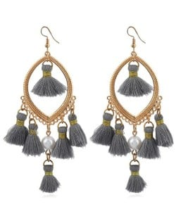 Bead and Cotton Threads Tassle Style Royal Fashion Hoop Earrings - Gray