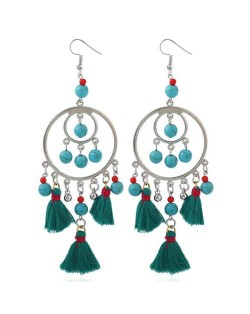 Bohemian Fashion Beads and Cotton Threads Tassel Design Dual Hoops Women Statement Earrings - Green