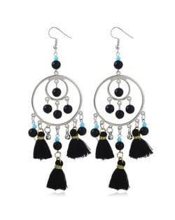 Bohemian Fashion Beads and Cotton Threads Tassel Design Dual Hoops Women Statement Earrings - Black