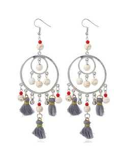 Bohemian Fashion Beads and Cotton Threads Tassel Design Dual Hoops Women Statement Earrings - Gray