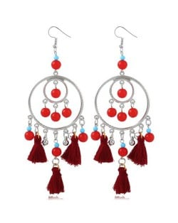 Bohemian Fashion Beads and Cotton Threads Tassel Design Dual Hoops Women Statement Earrings - Wine Red