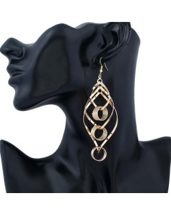 Linked Hollow Hoops Dangling Fashion Chunky Statement Earrings - Golden
