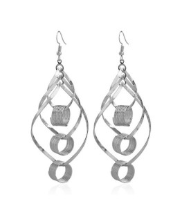Linked Hollow Hoops Dangling Fashion Chunky Statement Earrings - Silver