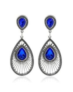 Gem Inlaid Hollow Waterdrop Fashion Vintage Stud Earrings - Blue