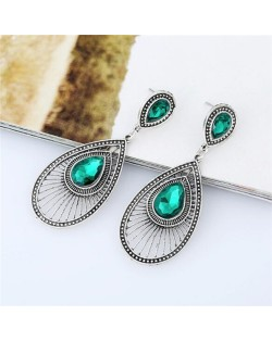 Gem Inlaid Hollow Waterdrop Fashion Vintage Stud Earrings - Green