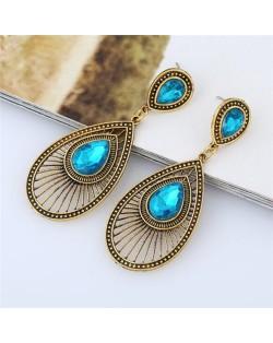Gem Inlaid Hollow Waterdrop Fashion Vintage Stud Earrings - Aquamarine