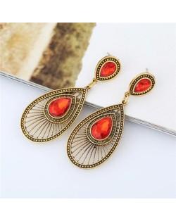 Gem Inlaid Hollow Waterdrop Fashion Vintage Stud Earrings - Red