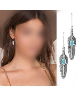Turquoise Embellished Alloy Feather Design Women Fashion Earrings