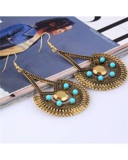 Mini Beads Decorated Folk Vintage Style Dangling Waterdrop Design Costume Earrings - Golden