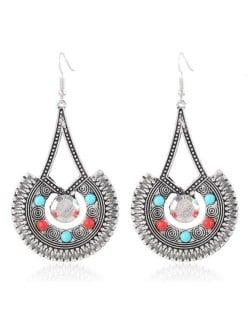 Mini Beads Decorated Folk Vintage Style Dangling Waterdrop Design Costume Earrings - Silver
