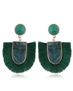 Acrylic Gem and Cotton Threads Combo Design High Fashion Stud Earrings - Green