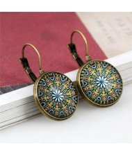 Kaleidoscope Floral Patterns Round Glass Gem High Fashion Clip Earrings - Vintage Copper